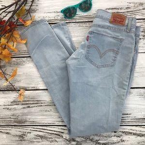 Levi's light wash distressed 524 Skinny Jeans